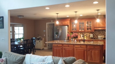 family room to kitchen view